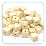 Madera abalorio cubo madera natural claro 10x10mm (20 unidades)
