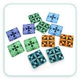 LOTE ÚNICO - Cabuchones CUADRADOS 12 unidades 20mm colores pastel C4789-  6pares