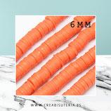 Abalorio arcilla Katsuki polimérica redondo plano 46cm 6,5mm  (330 unidades apro) naranja