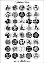 Lámina Imágenes de Símbolos Celtas Blanco y Negro  I