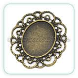 Camafeo oval ornamental bronce antiguo CAMBAS-C14519  (10 unidades)