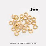 Anillas doradas 4mm de diámetro C0,8-4mm (100 unidades)