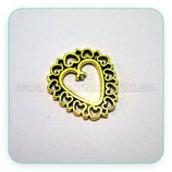 Conector pendiente dorado -  Oro viejo corazón bordecito ornamental P1402 (8 unidades)