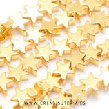 Abalorios piedra hematite estrella dorada - 8x8mm  (40 unidades)