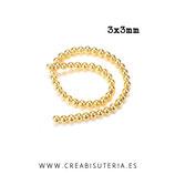 Abalorios  Hematite redondos minis dorados 3x3mm (148 unidades aprox.) P466