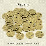 Charm BASIC medalla lisa bronce viejo 19x1mm P374 (10 unidades)