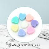 Bolsita 100 corazones acrílicos colores pastel mate mixtos planos 8x8mm C68 (100 piezas)