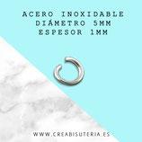 INOX - Anillas 5mm Espesor 1mm Abiertas  (muy duras y estables) C049  (40 unidades)