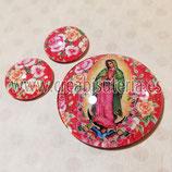 Cabuchón Cristal Religión - Virgen de Guadalupe México fondo rosas rojo cojunto 40mm+20+20mm