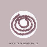 Abalorios -  Cristal facetado  4x3mm color violeta pálido  NEW * PL034 (145 piezas)