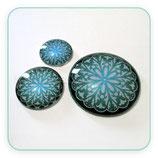 Cabuchón Cristal ilustrado Mandala tonos azul verdoso New* 16 pétalos