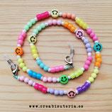 Producto acabado - Cordón para mascarilla/Gafas Smileys de colores opacos y abalorios mixtos de colores