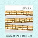 Abalorios  Hematite dorado tubular discos de 4x2mm (200 unidades aprox.) P73F