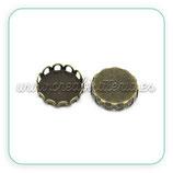 Camafeo conector 12x12mm arandelas rectas sencillo bronce viejo (10 unidades)
