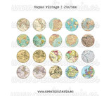 Lámina 20 imágenes mapas vintage 25x25mm