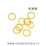 Anillas doradas 6mm de diámetro C58-6mm (45 unid. aprox.)