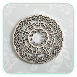 Colgante Mandala Filigrana florecillas redonda  plateada COLOOO-V16553