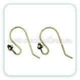 Ganchos pendientes torcido y ornamento bolitas SUPR - bronce viejo- ACCGAN-C30210 . (5 pares)