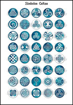 Lámina Imágenes de Símbolos Celtas Azulón