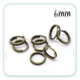 Anillas bronce viejo dobles 6mm de diámetro ACCANI-C14537(40 unidades)
