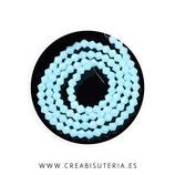 Abalorio cristal negro bicono facetado 4mm azul claro ( tira de 105 abalorios aprox)