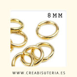 Anillas doradas Zamak 8mm  duras 1.5mm de espesor hipoalergenicas C22-8mm  (50 unidades)