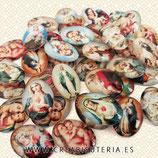 Lote liquidación 40 cabuchones religiosos Virgen María 18x25mm mix