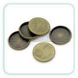 Camafeo base SIN ANILLA redondo bronce antiguo 12x12mm sencillo (10 unidades)