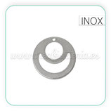 INOX - Charm circular con Luna y sol Simbol  acero inox  CON-C41402 (2 unidades)