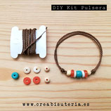 KIT DIY PULSERA BOHO PB38 Cordón  marrón + mix abalorios - PB38