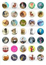Lámina de Imágenes de animales 30x30mm (35 imágenes)