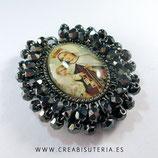 Producto Acabado - Medalla Virgen del carmen y cristal checo facetado negro