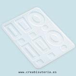 Molde de silicona , Piezas variadas para pendientes, colgantes, etc (Aros rectángulos,) MS027