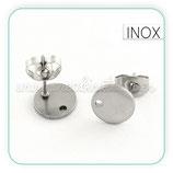 INOX - Pendiente base redonda  agujerito Acero Inoxidable   ACCBAS-PR063 (10 pares)