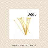 BASTON ALFILER CON CABEZA BOLA dorado - 3cm 0,7mm (30unid) BASTÓN04