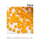 Abalorios -  Cristal de colores rocalla 3mm color sólido amarillo huevo