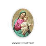 Cabuchón Cristal Religión - Imagen de la virgen maría y Niño Jesús manto turquesa