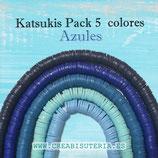 Abalorio arcilla Katsuki polimérica redondo plano 6,5mm (380/400 unidades apro) pack  tonos azules