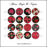 Imágenes para camafeos, flores rojas y negras