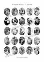 Lámina de 25 Imagenes Clásicos del cineII byn 30x40mm blanco y negro