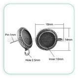 Pendiente base redonda camafeo 10mm plata vieja con anilla inferior  ACCBAS-P20147 (10 unidades)