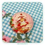 Cabuchón Cristal estampado Tarta de Fresa M001 Rosa