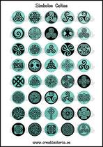 Lámina Imágenes de Símbolos Celtas Turquesa  I