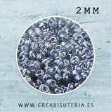 Abalorios -  Cristal de colores, rocalla 2mm  gris azulado semitransparente  20gr R002-2mm
