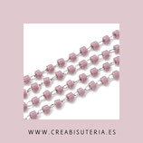 Cadena de inox  fina con abalorios miyuki rosa vintage - 1 metro