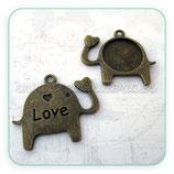 Camafeo elefante Love 14mm  bronce viejo  CAMBAS-C2641