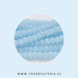 Cristal facetado 6x4mm. Azul agua (95 unidades aprox.)