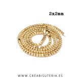 Abalorios  Hematite cuboide minis dorados 2x2mm (195 unidades aprox.) P260