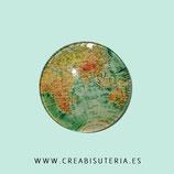 Cabuchón ilustrado - Globo terraqueo/ Mapa mundi vintage tono verde