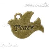 """Charm medalla pájaro """"Peace"""" CHAOOO-C14170"""
